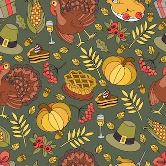 感謝祭のシンボルとのシームレスなパターン