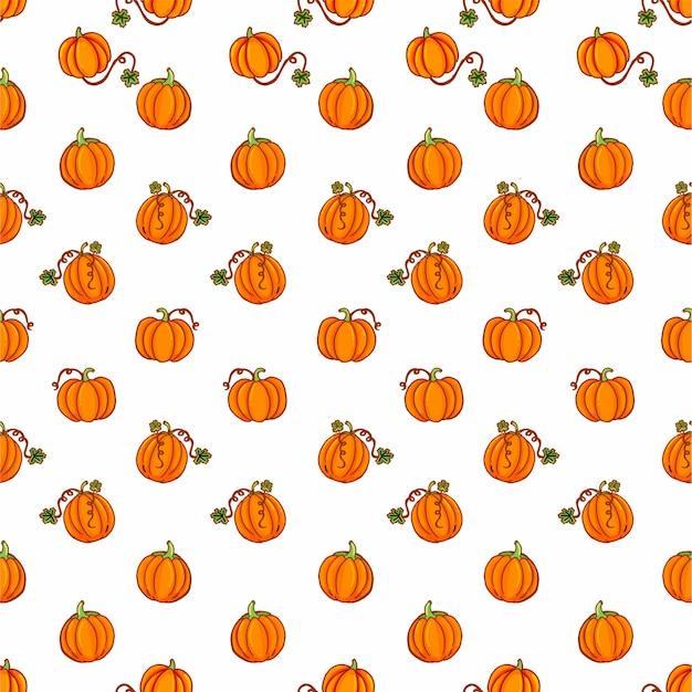 白い背景の上の細いアウトラインオレンジかわいいカボチャとのシームレスなパターン。手で書いた 。