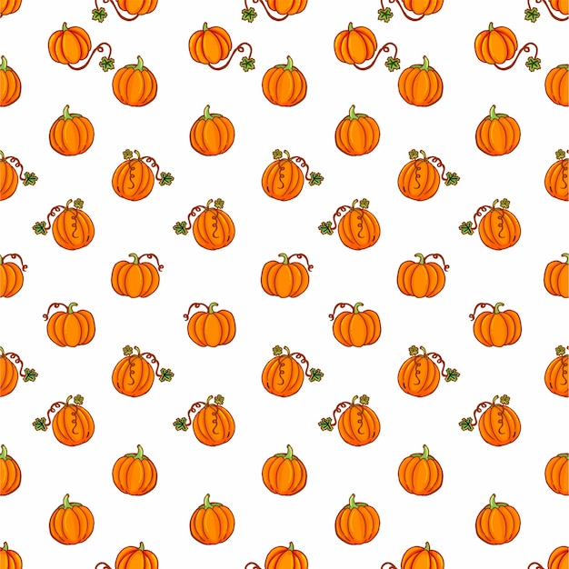 Seamless pattern with thin outline orange cute pumpkin on white background. hand drawn .