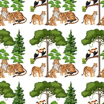 Seamless pattern with tiger family and nature element on white