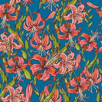 Seamless pattern with tiger lilies