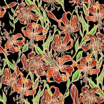 Seamless pattern with tiger lilies.