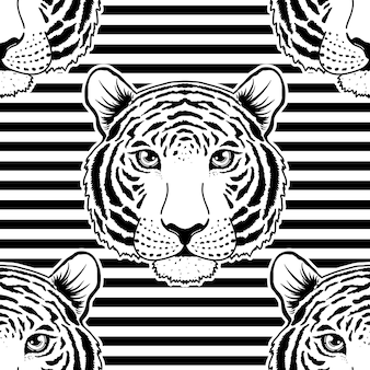 Seamless pattern with tiger muzzle on striped background.
