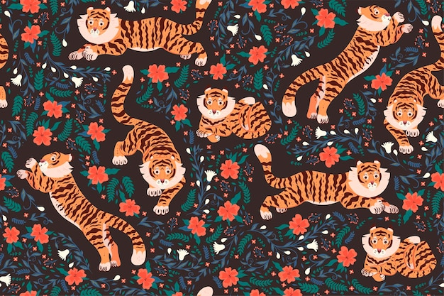 Seamless pattern with tigers and flowers. vector graphics.
