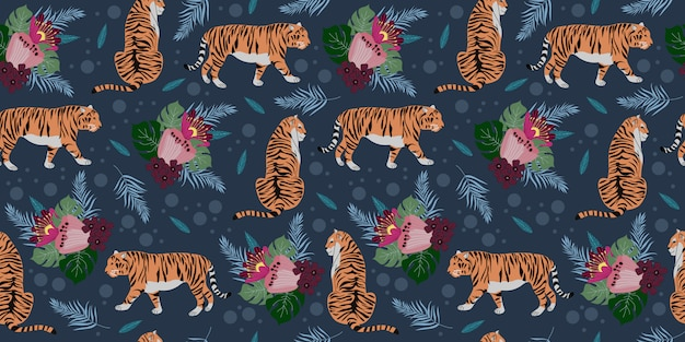 Seamless pattern with tigers and flowers