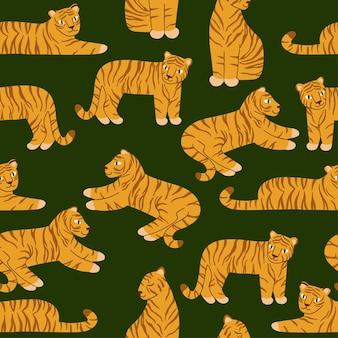 녹색 배경에 호랑이와 함께 완벽 한 패턴입니다. 다른 포즈의 귀여운 호랑이. 포장, 직물, 배경 디자인. 흰색 바탕에 평면 스타일에서 벡터 일러스트 레이 션.