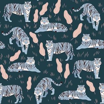 虎とのシームレスなパターン。スタイリッシュなイラスト。中国の青い水生新年のシンボル。