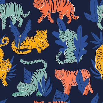 Seamless pattern with tigers and tropical leaves. hand drawn vector illustration. jungle concept.