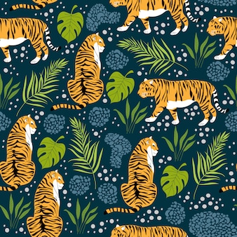 Seamless pattern with tigers and tropical leaves. trendy style. vector