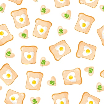 ハートの形をしたトーストと目玉焼きのシームレスなパターン、朝食。