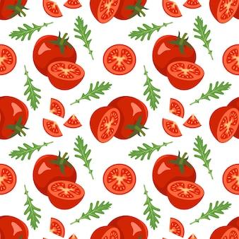 토마토와 아루굴라가 있는 매끄러운 패턴은 흰색 바탕에 건강한 비건 음식 인쇄 붉은 야채를 남깁니다...