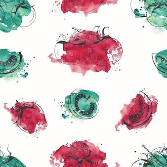 白地に赤と緑の水彩画の汚れに対して輪郭線で手描きトマトとのシームレスなパターン。背景、テキスタイルプリント、包装紙のクリエイティブなベクトルイラスト。
