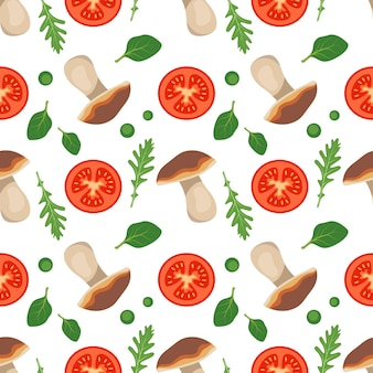 토마토 버섯 아루굴라와 시금치와 함께 매끄러운 패턴은 건강한 채식주의 음식 붉은 야채를 남깁니다
