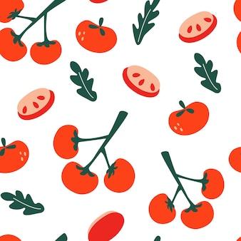 トマトとのシームレスなパターン。枝のトマト、トマトのスライスと葉。キッチンの壁紙、テキスタイル、ファブリック、紙の無限のテクスチャ。食品の背景。平らな野菜。ビーガン、農場、自然。