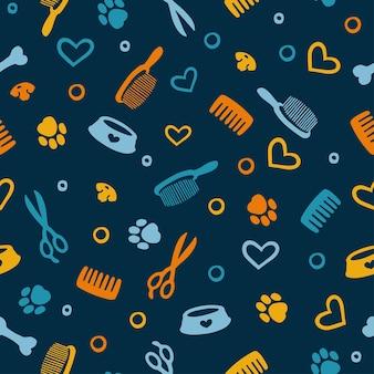 도구 및 용품이 있는 원활한 패턴 살롱 및 애완동물 가게 손질을 위한 화려한 배경