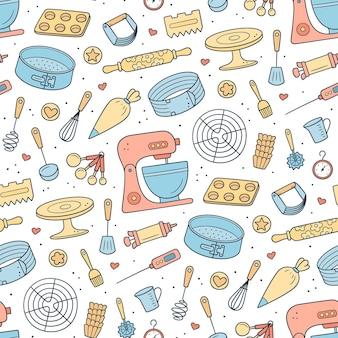 케이크, 쿠키 및 패스트리를 만들기 위한 도구가 있는 원활한 패턴