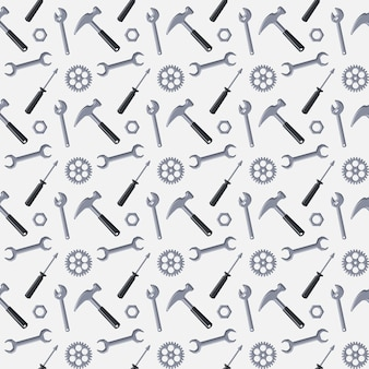 흰색 바탕에 수리 및 건설을 위한 도구가 있는 원활한 패턴