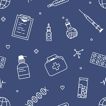 Seamless pattern with tools for medical diagnostics and research.
