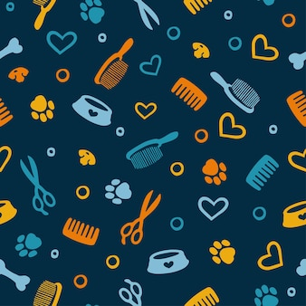 Seamless pattern with tools and supplies colorful background for grooming a salon and pet shop