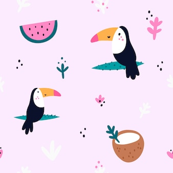 Seamless pattern with toucan bird, coconut, watermelon. summer print
