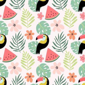 Seamless pattern with toucan and summer fruits