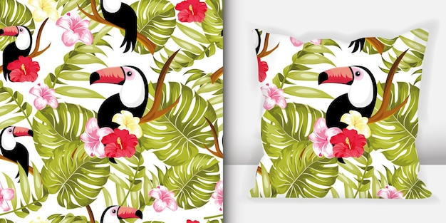 背景にオオハシ、熱帯の葉と花とのシームレスなパターン。枕のシームレスなパターン。