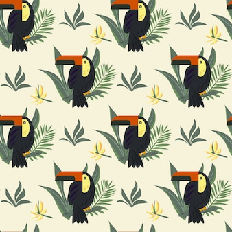 Seamless pattern with toucan and tropical leaves