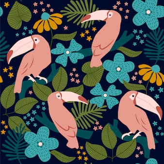 Seamless pattern with toucans and flowers.