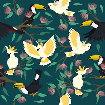 Seamless pattern with toucans and cockatoo.