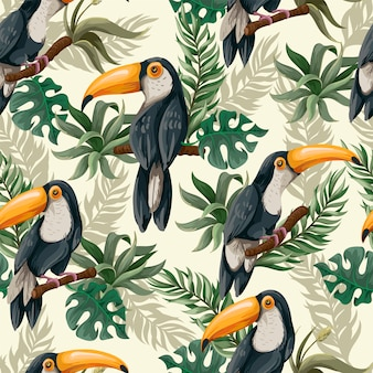 Seamless pattern with toucans in jungle.