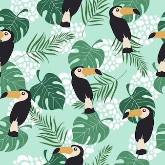 Seamless pattern with toucans and leaves