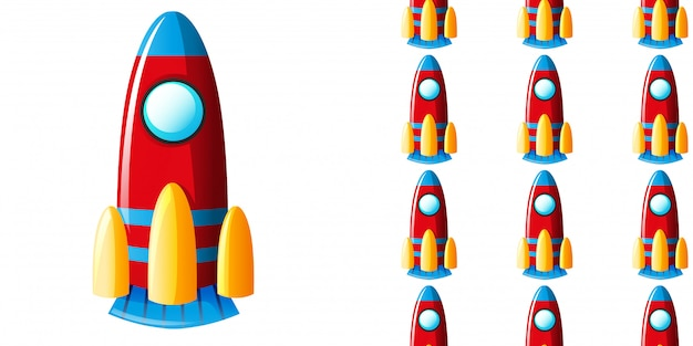 Seamless pattern with toy rocket
