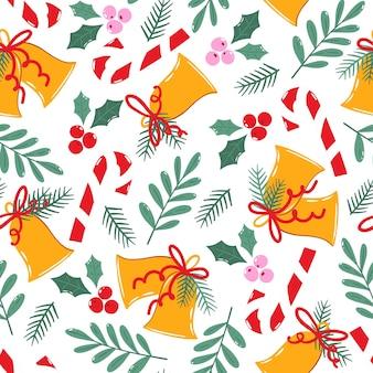 伝統的なクリスマスの装飾とシームレスなパターン。