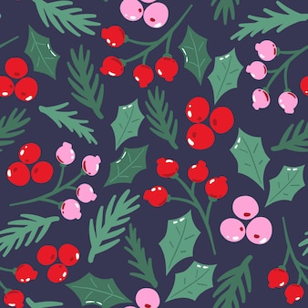 伝統的なクリスマスの葉とのシームレスなパターン。