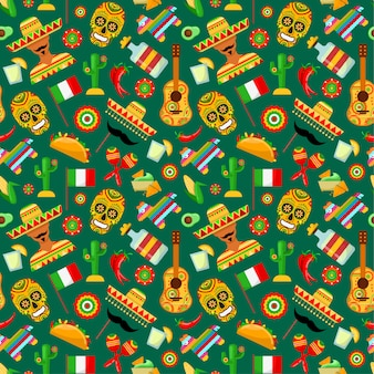 Seamless pattern with traditional mexican attributes