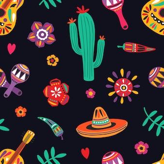 黒の背景に伝統的なメキシコのシンボルとのシームレスなパターン-ソンブレロ、ギター、サボテン、マラカス、唐辛子。包装紙、テキスタイルプリント、壁紙のフラット漫画ベクトルイラスト。
