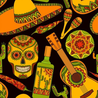 Seamless pattern with traditional mexican symbols