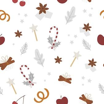 伝統的な冬のスパイスとフルーツとのシームレスなパターン。休日の季節のクリスマスのおやつ