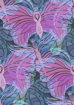 Seamless pattern with transparent butterflies on a dark background
