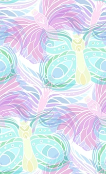 Seamless pattern with transparent butterflies on a light background