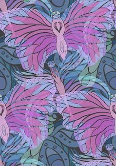 어두운 배경에 투명 나비와 함께 완벽 한 패턴