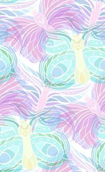 밝은 배경에 투명 나비와 함께 완벽 한 패턴