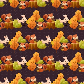 Seamless pattern with trees, leaves, squirrels and rabbits