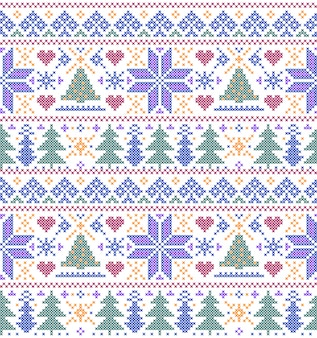 Seamless pattern with trees and snowflakes