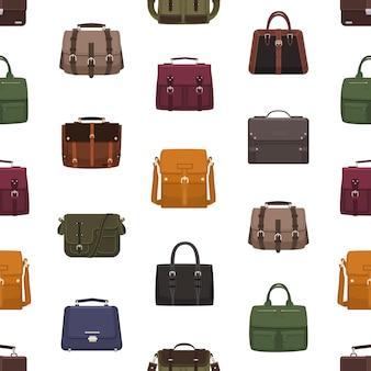 Бесшовный фон с модными мужскими сумками или сумками разных стилей на белом