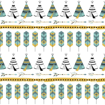 Seamless pattern with tribal elements.