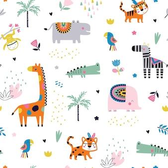 部族の熱帯動物とのシームレスなパターン。創造的な保育園の背景。キッズデザイン、ファブリック、ラッピング、壁紙、テキスタイル、アパレルに最適