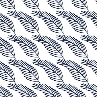 Бесшовный фон с тропическими листьями синего цвета на белом фоне.