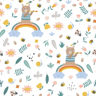 Seamless pattern with tropical animals creative nursery