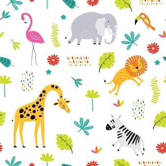 熱帯の動物とのシームレスなパターン。